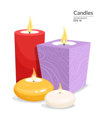 Decorative burning candles set isolated on white background. Different types and colors of handmade candles. Vector illustration