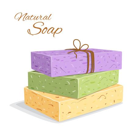 Handmade Organic Soap bar closeup. Natural soap making. Spa treatments. Vector illustration