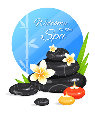 Spa still life with stack of stones, burning aroma candles, bamboo leafs and frangipani flowers. Zen Garden. Harmony and balance. Vector illustration Ilustração