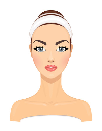 Beautiful young woman with clean fresh skin isolated on white background. Girl avatar. Model for facial beauty treatment. Skin care concept. Vector illustration Stock Illustratie