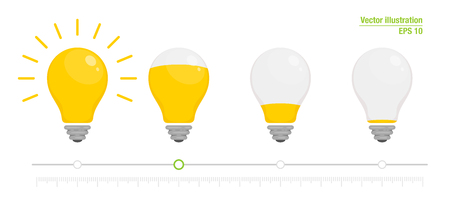 Light power indicator. Power switch. Energy charge level, full and low. Yellow glowing light bulb. Vector illustration for your design. Flat style Ilustração