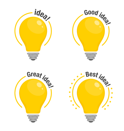 Set of Light bulbs of Idea. Yellow glowing light bulbs with text. Symbol of idea, solution and thinking. Flat style icon. Vector illustration for your design Ilustração