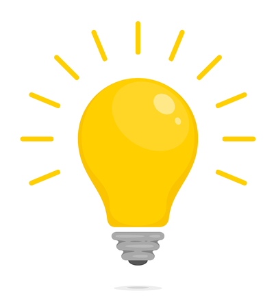 Yellow glowing light bulb. Symbol of energy, solution, thinking and idea. Flat style icon for web and mobile app. Vector illustration for your design Ilustração