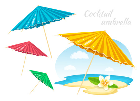 Colorful Umbrellas with Plumeria Flower. Summer Time Vacation Attribute. Decoration element. Vector Illustration