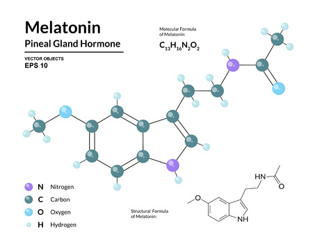 Melatonin. Pineal Gland Hormone. Regulator of Diurnal Rhythms. Structural Chemical Molecular Formula and 3d Model. Atoms are Represented as Spheres with Color Coding. Vector Illustration
