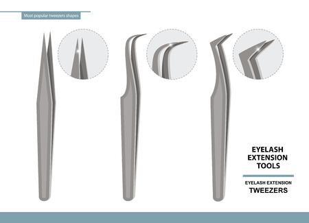 Outils d'extension de cils. Ensemble de pincettes en acier les plus populaires isolées sur fond blanc. Formes différentes. Illustration vectorielle. Affiche de formation. Guider