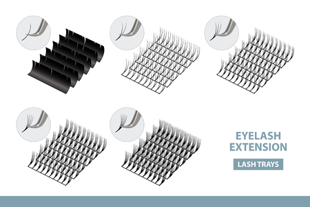 Eyelash Extension Application Tools and Supplies. Volume Artificial Lashes Set. Vector Illustration. Template for Makeup and Cosmetic Procedures in beauty salon. Training poster. Guide Vettoriali