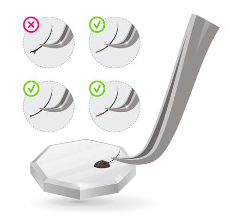 Master of Eyelash Extensions arbeitet mit Pinzetten und taucht die künstliche Wimper in Kleber ein. Wie man falschen Wimpernkleber richtig anwendet. Vektor-Illustration. Trainingsplakat. Handbuch Vektorgrafik
