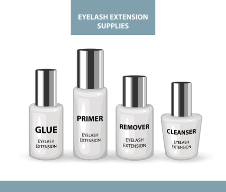 Eyelash Extension Application Tools and Supplies. Remover, Primer, Cleanser, Glue. Products for Makeup & Cosmetic Procedures. Realistic Plastic Containers with Cap. Liquid containers. Cosmetic Vials Ilustração