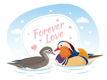 Two Mandarin Ducks in Love. Symbol of Love and Marriage. Card for Valentine Day. Forever love. Asian Birds. Male and Female. Vector Illustration Ilustração