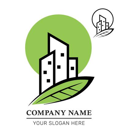 Logo Design of Real Estate Business. Property Development and Management. Eco City Building . Vector Illustration Ilustração