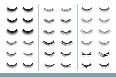 Lashes collection. Different Shapes of False Eyelashes. Closed Eyes. Eyelash Extension guide. Vector Illustration. Professional Glamor Makeup. Training Poster