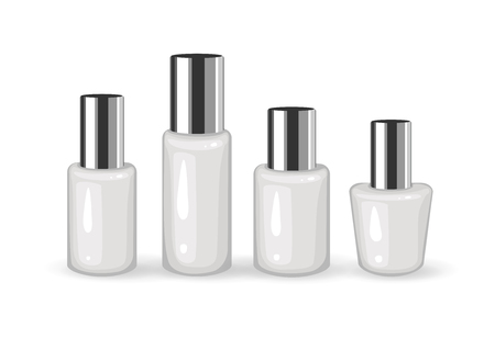 Set of Realistic Empty Plastic Containers with Silver Cap on white background. Cosmetic Vials. Liquid containers. Cosmetic Package Collection. Vector  Mockup Illustration for your Design