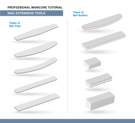 Different Types of Nail Files and Nail Buffers. Manicure and Pedicure Care Tools. Vector Illustration Ilustração
