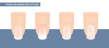 Most Popular Nail Designs. Manicure styles. Vector Illustration