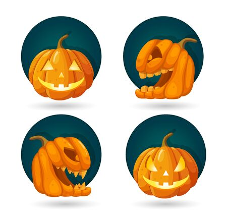 Set of Halloween Pumpkins. Decoration for Horror Holiday. Jack O Lantern head with burning candles. Vector illustration