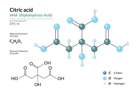 Citric acid. AHA Alphahydroxy acid. Structural chemical formula and molecule 3d model. Atoms with color coding. Vector illustration Illustration