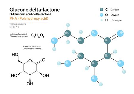 Gluconic acid delta-lactone. PHA Polyhydroxy acid. Structural chemical formula and molecule 3d model. Atoms with color coding. Vector illustration