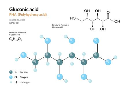 Gluconic acid. PHA Polyhydroxy acid. Structural chemical formula and molecule 3d model. Atoms with color coding. Vector illustration