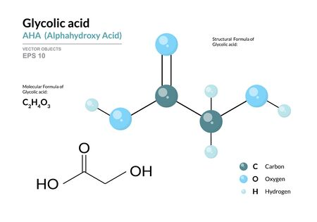 Glycolic acid. AHA Alphahydroxy acid. Structural chemical formula and molecule 3d model. Atoms with color coding. Vector illustration  イラスト・ベクター素材