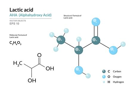 Lactic acid. AHA Alphahydroxy acid. Structural chemical formula and molecule 3d model. Atoms with color coding. Vector illustration  イラスト・ベクター素材