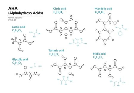 Lactic, Glycolic, Citric, Tartaric, Mandelic, Malic acids. AHA Alphahydroxy acids. Structural chemical formula and molecule model. Vector illustration