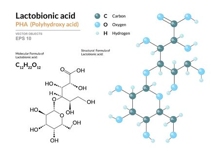 Lactobionic acid. PHA Polyhydroxy acid. Structural chemical formula and molecule 3d model. Atoms with color coding. Vector illustration Ilustração