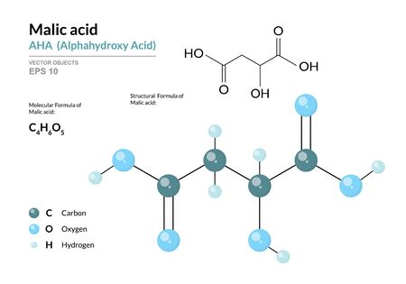Malic acid. AHA Alphahydroxy acid. Structural chemical formula and molecule 3d model. Atoms with color coding. Vector illustration
