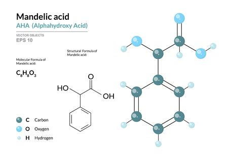 Mandelic acid. AHA Alphahydroxy acid. Structural chemical formula and molecule 3d model. Atoms with color coding. Vector illustration