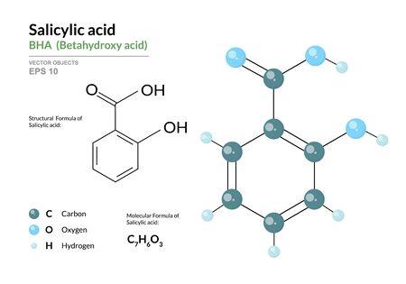 Acide salicylique. BHA Acide bêtahydroxy. Formule chimique structurale et modèle 3d de molécule. Atomes avec codage couleur. Illustration vectorielle Vecteurs