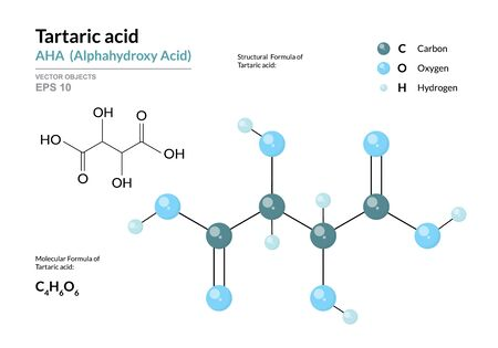 Tartaric acid. AHA Alphahydroxy acid. Structural chemical formula and molecule 3d model. Atoms with color coding. Vector illustration