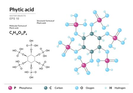 Phytic acid. inositol Hexakisphosphate or Inositol Polyphosphate. Structural chemical formula and molecule 3d model. Atoms with color coding. Vector illustration  イラスト・ベクター素材