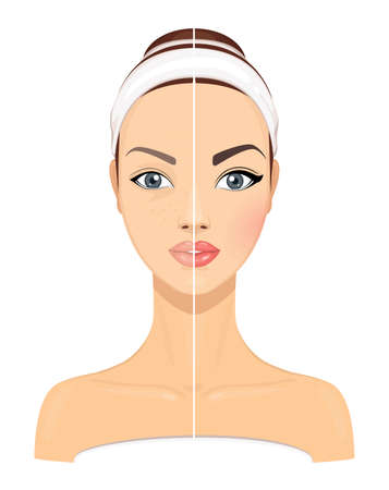 Comparison Side by Side Portrait of a Young Beautiful Girl Without and With Makeup on a White Background. Vector Illustration