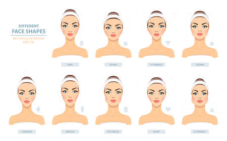 Face Types. Big Set of Different Female Face Shapes on a White Background. Vector Illustration