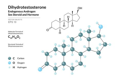 Hormone Dihydrotestosterone. Structural Chemical Formula and Molecule 3d Model. Atoms with Color Coding. Vector Illustration