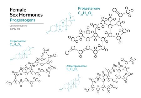 Progesterone, Pregnenolone, Allopregnanolone. Female Sex Hormones. Structural Chemical Formula and Molecule Model. Line Design. Vector Illustration   イラスト・ベクター素材
