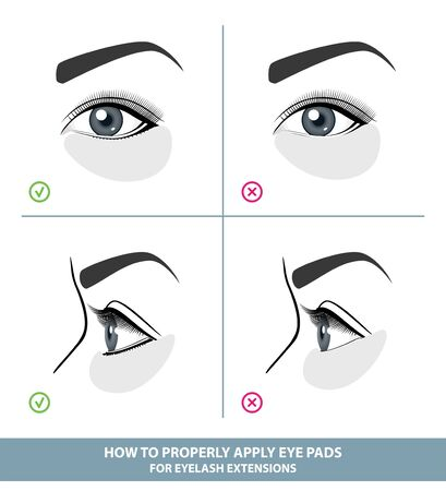 How to Apply Under Eye Patches and Protection Pads for Eyelash Extensions Properly. Hold Down Bottom Eyelashes for Eyelash Extensions. Guide. Infographic Vector Illustration  イラスト・ベクター素材