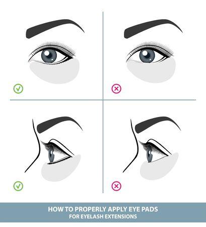 So wenden Sie Augenklappen und Schutzpads für Wimpernverlängerungen richtig an. Halten Sie die unteren Wimpern für Wimpernverlängerungen gedrückt. Handbuch. Infografik-Vektor-Illustration