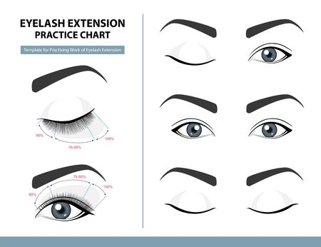 Training Poster, Practice Chart. Density of Eyelash Extension for Great Look. Eyelash Extension Guide. Infographic Vector Illustration