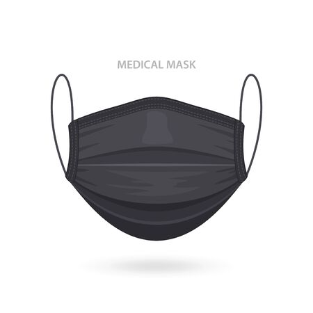 Black Medical or Surgical Face Mask. Virus Protection. Breathing Respirator Mask. Health Care Concept. Vector Illustration