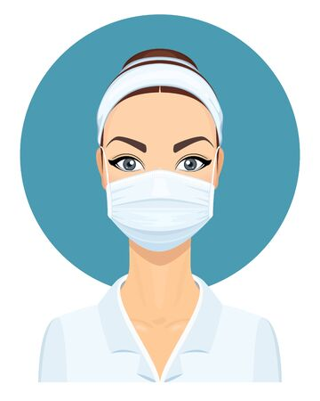 Medical Doctor Woman in Lab Coat with Surgical Face Mask. Virus Protection. Health Care Concept. Vector Illustration