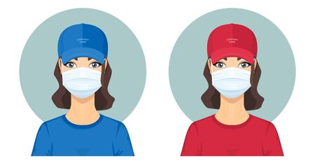 Attractive Young Woman in Red and Blue Uniform with Surgical Face Mask. Safe Home Delivery Concept. Courier Service. Advertising for Your Company.