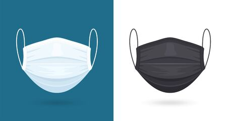 Black and White Medical or Surgical Face Masks. Virus Protection. Breathing Respirator Mask. Healthcare Concept.