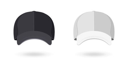 Black and White Baseball Cap Isolated on White Background. Mockup for Branding and Advertising Your Company. Front View. Vector Illustration