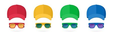 Colored Baseball Cap and Sunglasses Isolated on White Background. Mockup for Branding and Advertising Your Company. Summer Party Items. Front View. Vector Illustration