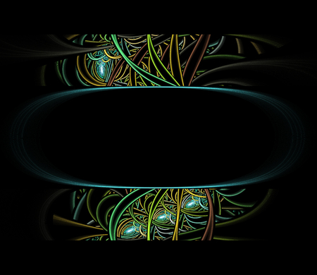 Abstract colorful oval-shape fractal patterm on the black-background
