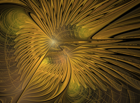 Abstract fractal pattern in gold color. Computer-generated image.