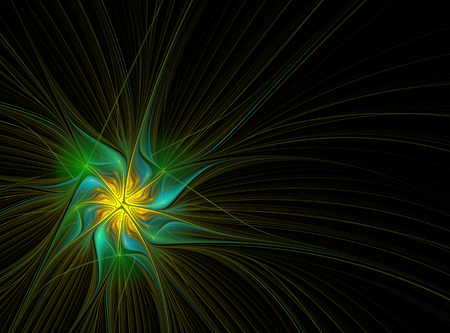 Abstract fractal pattern in yellow-green colors on the black background