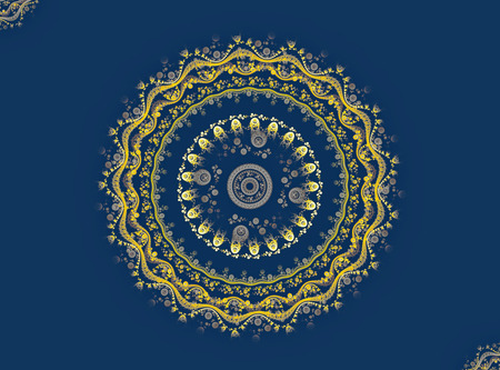 Mandala yellow pattern on the blue background. Abstrat fractal. Computer-generated image.