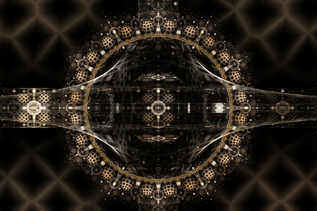Abstract fractal in brown colors on the black background. Computer-generated image